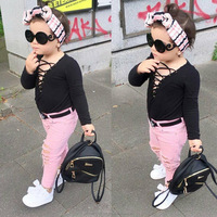 winner Children's spring and autumn long sleeve sexy bandage jacket + tear - hole pants two sets children's boutique suits