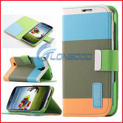 Multi-color PU Leather Wallet Flip Case for Samsung Galaxy S4 I9500