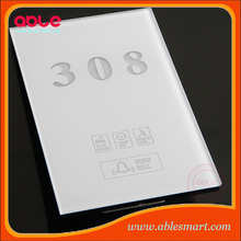 Hotel room service system touch doorplate with DND/MUR