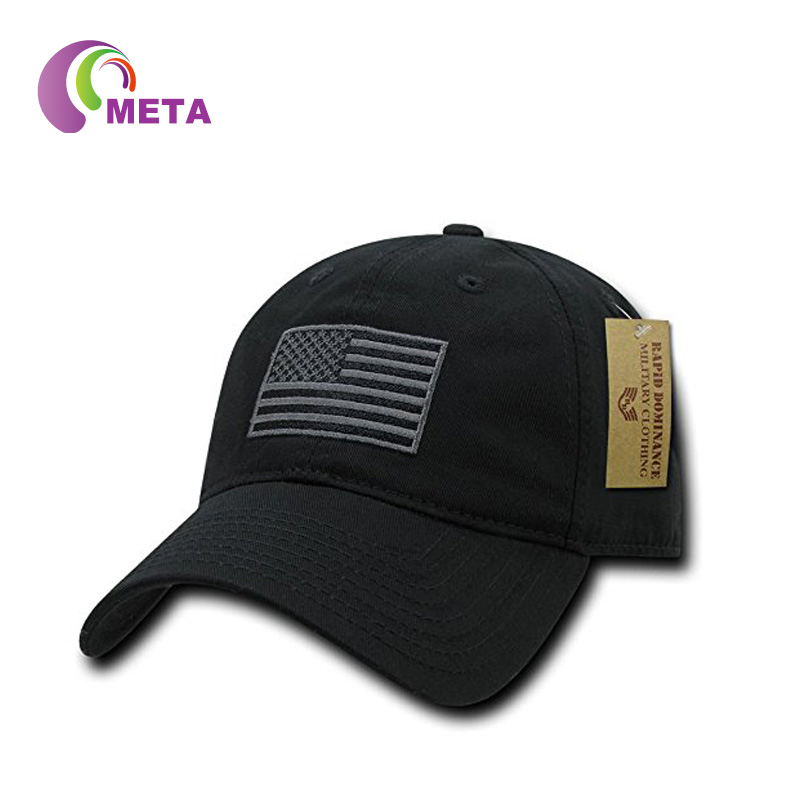Cheap Custom OEM 100% Polyester 6 Panel Black Baseball Cap