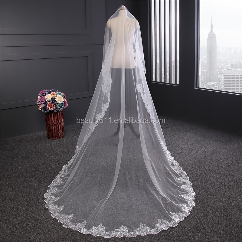 2017 wholesale new grance long lace bridal wedding veil Fashionable long Tulle HL23