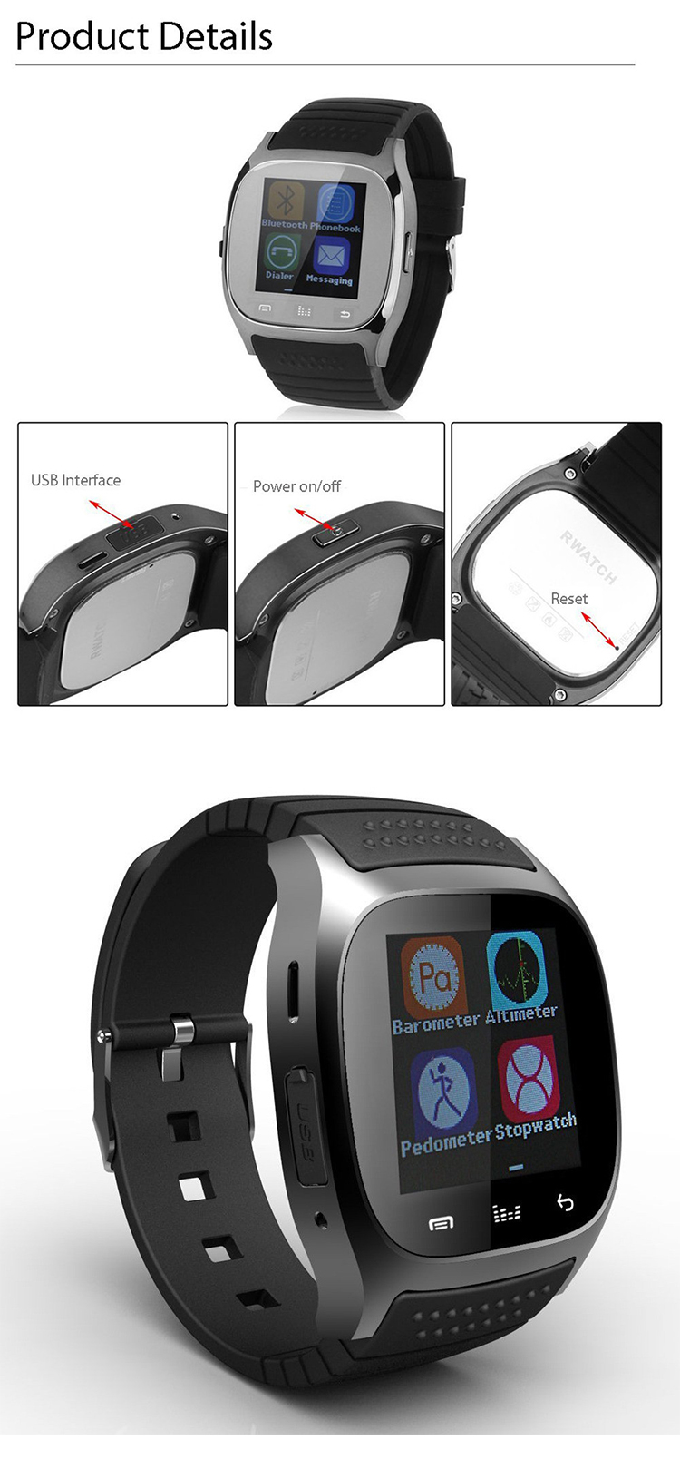 "BT Version sport smart watch 1.44"" color touch screen answer dailing stopwatch watch Multi-language"