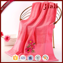promotional custom embroidery wholesale jacquard woven 100% cotton bath towels