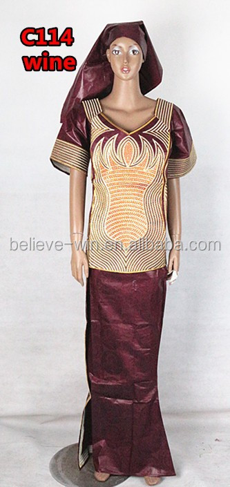 embroidery african bazin clothes for women of <strong>c114</strong> wine