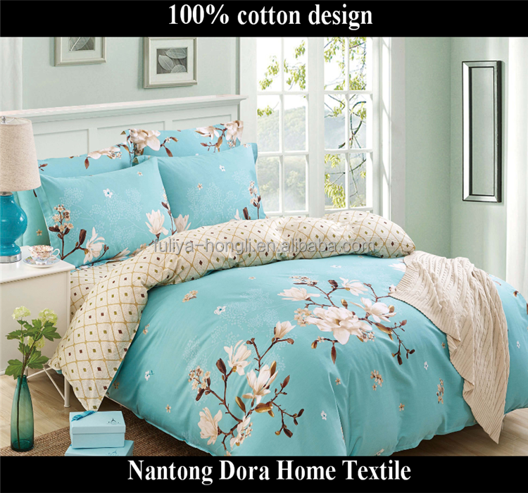greenish lily flower coming home bedding 100% cotton patchwork bed sheet designs