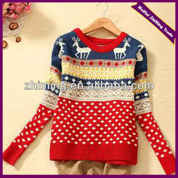 2015 New Fashion Girls Knitting Pattern Pullover Ugly Christmas Sweater For W...