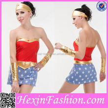 blue top with dot under wonder woman corset costume wholesale