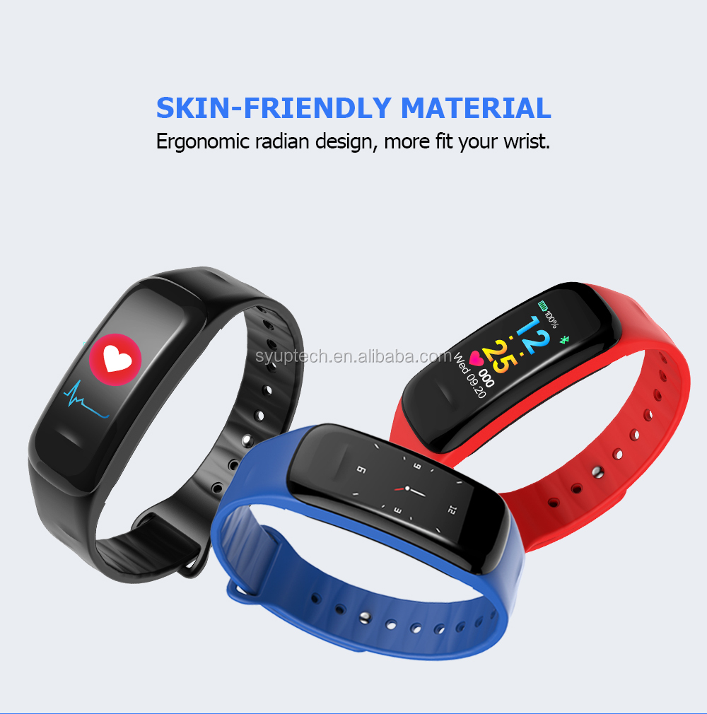 2018 <strong>C1</strong> Plus colorful display Sport fitness Bracelet With Blue Tooth Heart Rate With Bluth Heart Rate monitor