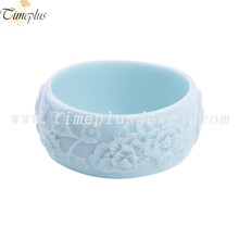 Fashionable engrave carved flower bracelet office ladies wholesale resin multiple color bangle jewellery