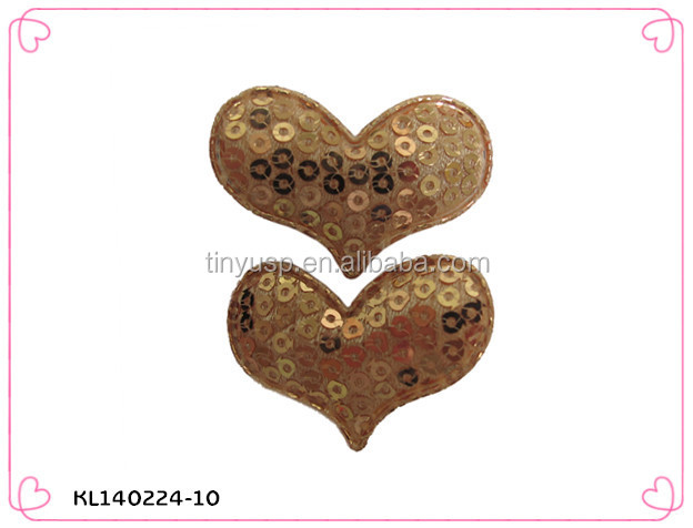 Sequins gold heart shape hair clip