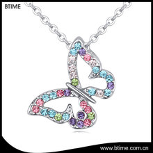 Butterfly shaped rhinestone jewelry necklace pendant choker necklace