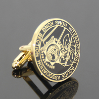 OEM 2017 Promotion Custom Logo Emboss Classical Metal Cufflinks IPA Souvenir Gift Painting Zinc Alloy Gold Cuff Link