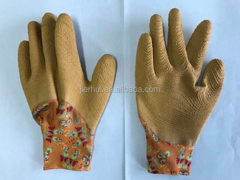 Latex raised grain coated printed garden gloves