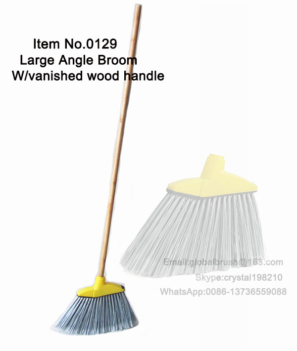ITEM NO.0129 plastic large angle broom with painted wood handle