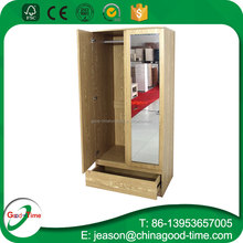 cheap price wooden particle board 2 door wardrobe with mirror