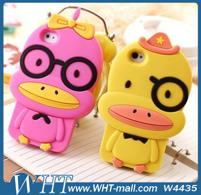 Cute Glasses Couples Duck Design Silicon Case for iPhone 5S 5