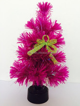 Small Fuchsia Fiber Optic Artificial Christmas Tree With Bowknot