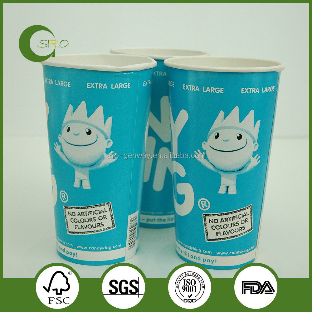 32OZ Disposable Cold Drink Paper Cups, ice cream paper cups, double PE paper cups