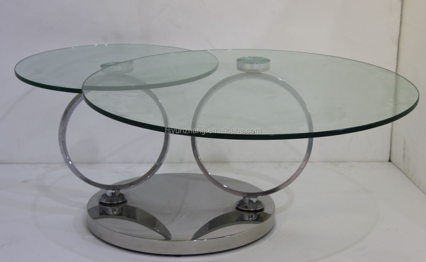 skinny rotating glass coffee <strong>table</strong> with stools