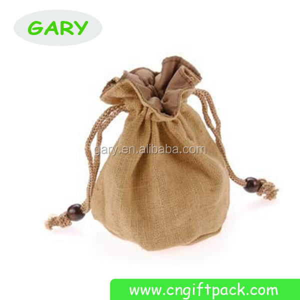 Personalized Single Bottle Jute Wine Gift Bags with Drawstring