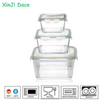 High quality folding square transparent glass lunch boxes