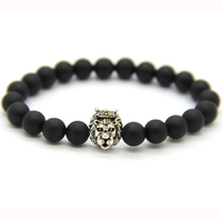 China factory stainless steel lion head mens bracelet, black onyx bracelet