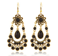 Fashion new vintage style women's alloy jewelry black big crystal arabic gold earring designs H15