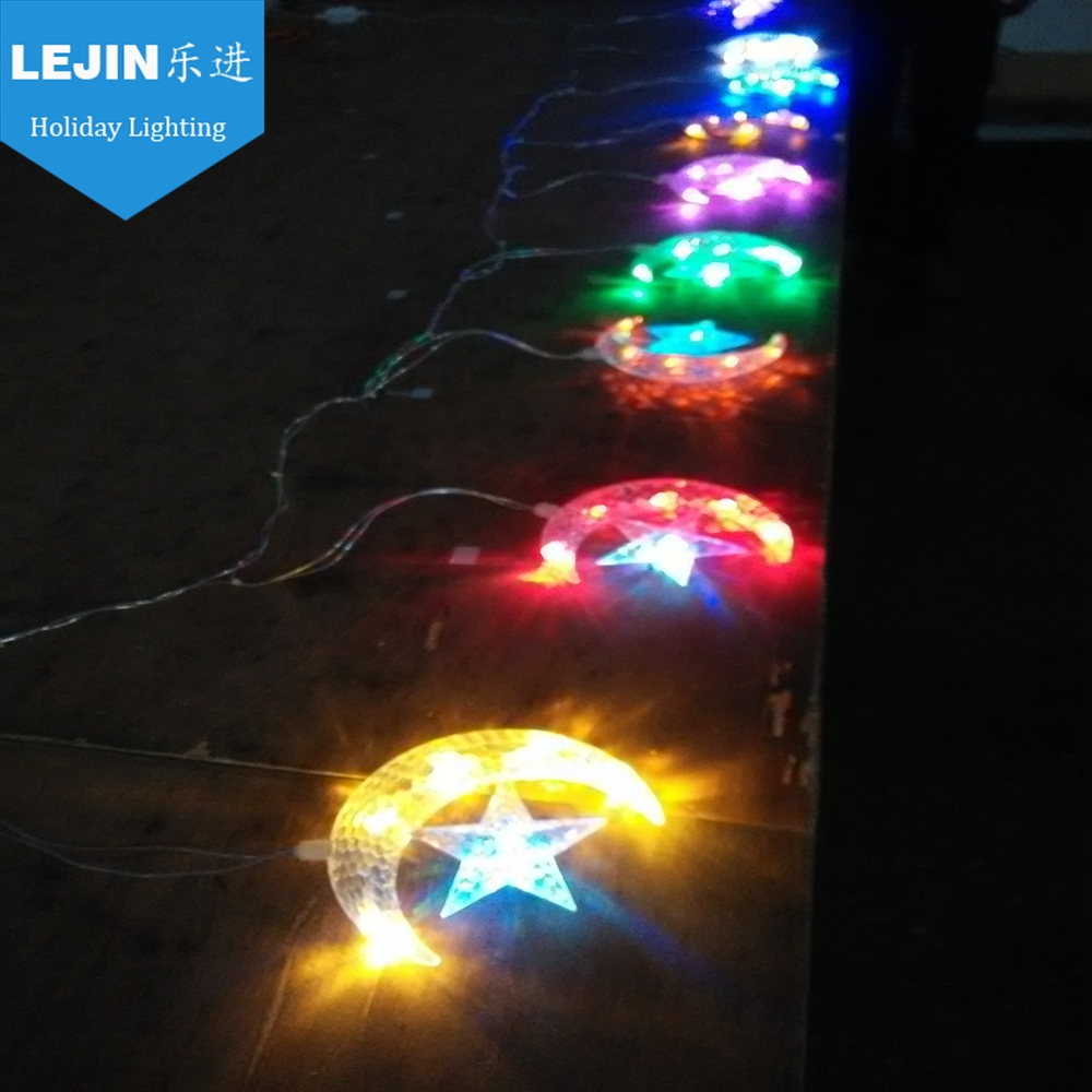 led decoration ramadan lights with star or moon ornament