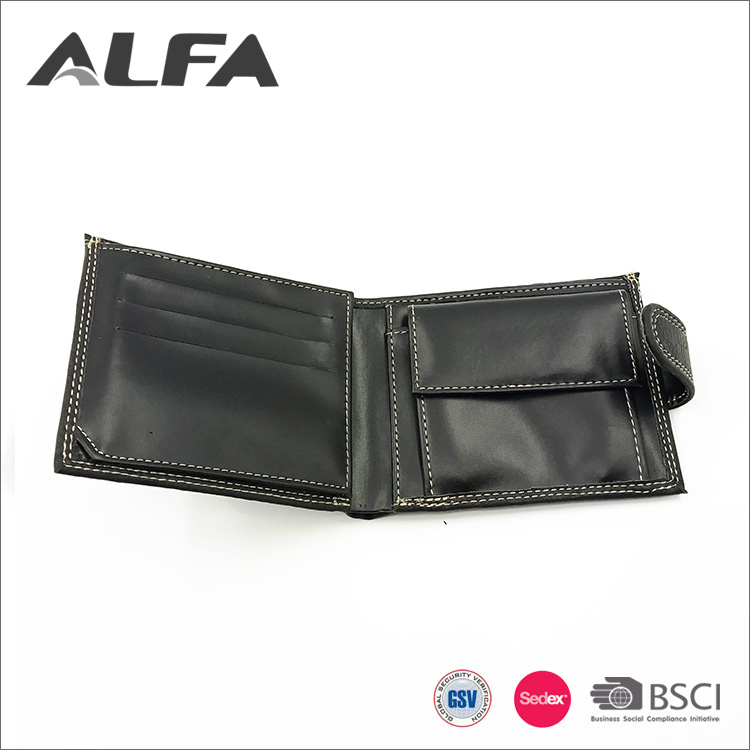 Alfa China Supplier Durable Custom Logo PU Leather Mens Wallet Wholesale