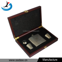 portable stainless steel wine set wooden packaging box with cups