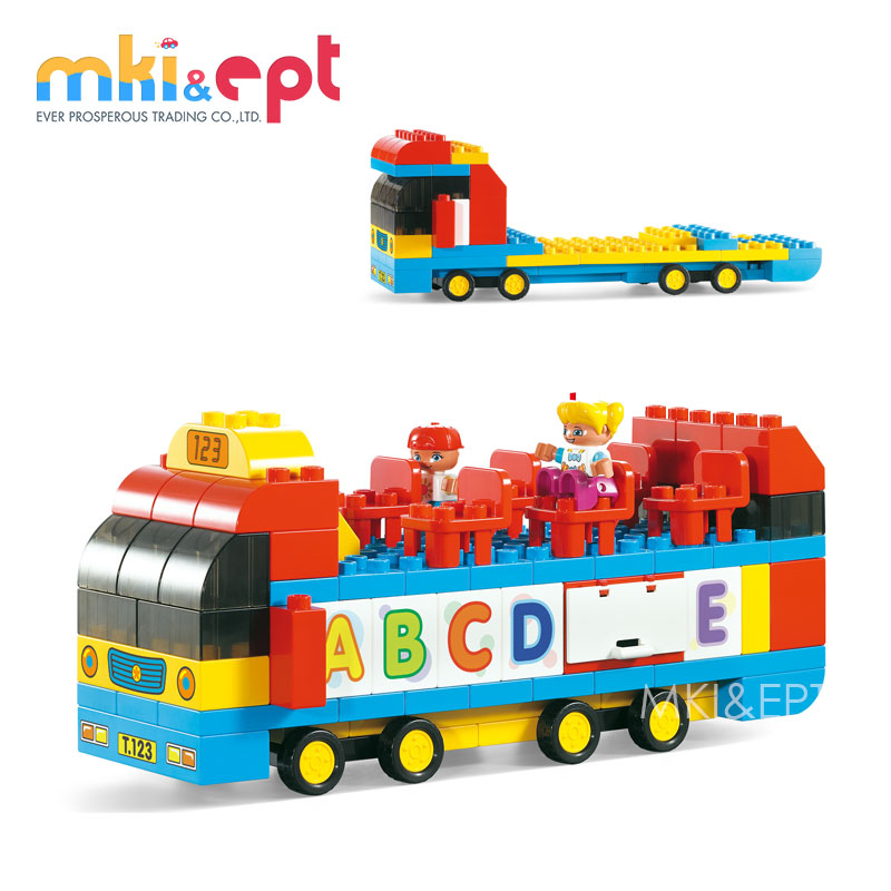 119 plastic educational games toys building bus blocks for kids play