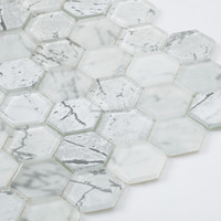 White Hexagon Crystal Glass Mosaic Tile