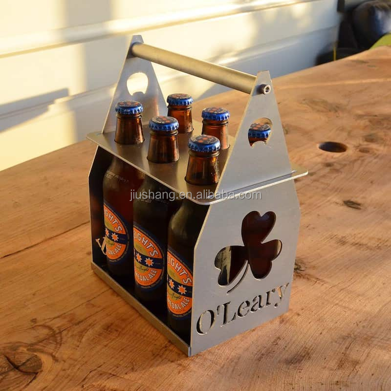 China supplier small metal beer bottle carrier with customized cutting logo