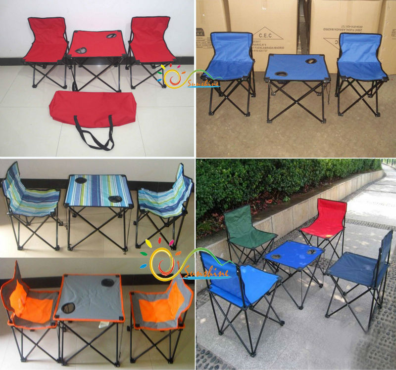 Portable camping outdoor folding foldable chair and table set