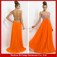 OC-2979 Strapless beaded bodice high waist flowing chiffon long formal dresses for wedding guest dress 2014