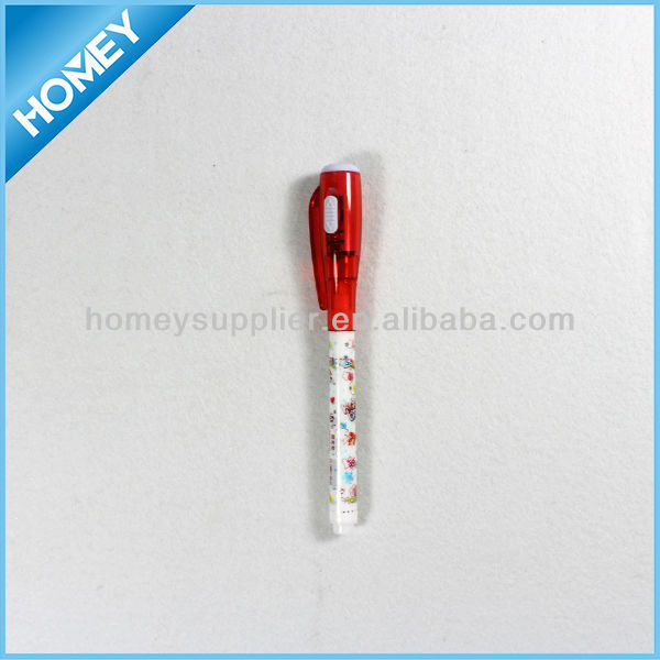 Invisible ball pen with LED light,secret pen,torch pen