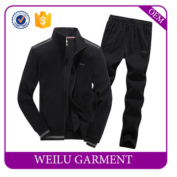 Long sleeve custom made cheap plain sweat suits with wholesale price