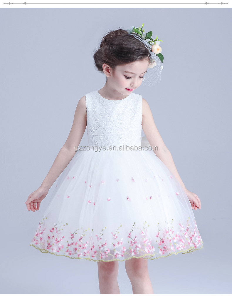 Summer girl princess lace embroidery sleeveless dresses for girls dresses China garment manufacture
