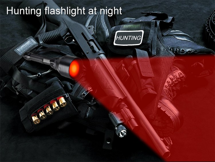 LED red hunting flashlight at night