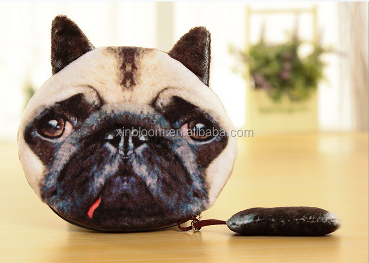 lovely 3D solid animal meow star cat husky dog panda owl face plush small money change handbag wallet with tail