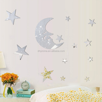 moon and star shaped mirror reflective wall sticker EN71 REACH ROHS certificated