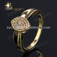 Hot sale 18k real gold plated micro pave cz brass rings jewelry No.XYR100009