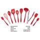 Customizable Logo Print Soft Food Grade Safe Colorful Red Color 10 Cooking Silicone Rubber Kitchen Utensils - nonstick silicone