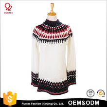 Special Design Women High Collar Jacquard Crew Neck Pullover cotton knitted sweater from china