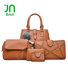JIANUO High quality 6pcs frosted handbag set ladies fashion bag set women