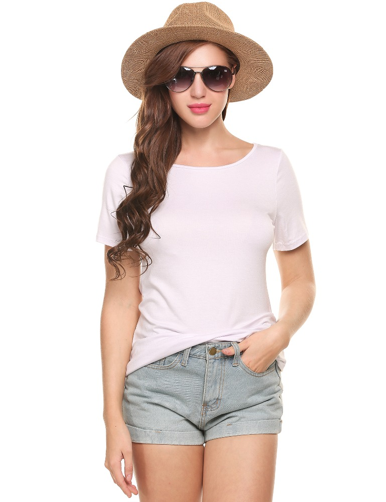 Asymmetrical Hem Elastic <strong>O</strong>-Neck Short Sleeve Solid Pullover T-Shirts