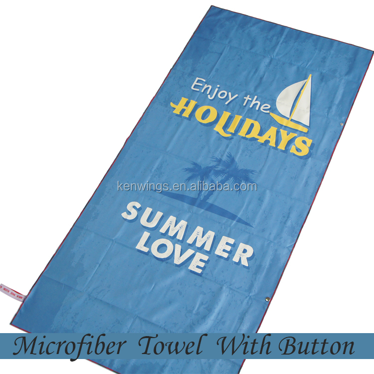 Sea Blue Printed Microfiber Towel With Button and Portable Pocket