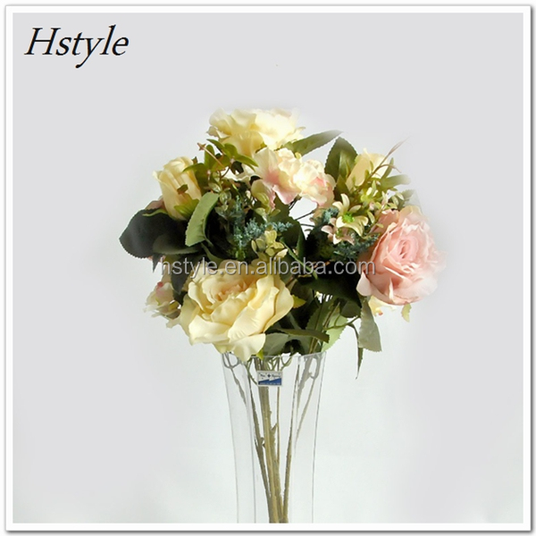 Artificial Rose <strong>14</strong> Heads Spring Fake Silk Flowers Bouquet Bridal Floral Decor Plant Arrangement 2016 Spring FZH112