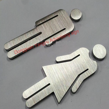 3D stainless steel female toilet door signs