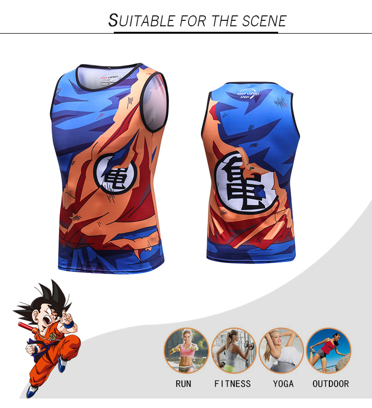 Atacado Popular Traje Parte Superior Do Tanque Sem Mangas Camiseta Dragon Ball Z Goku